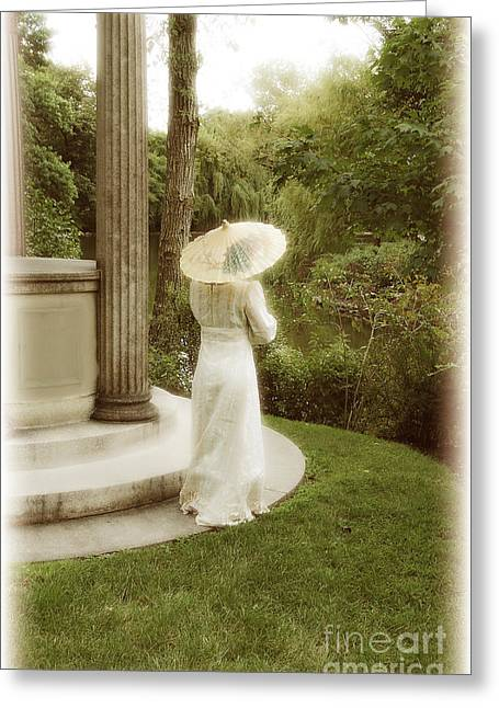 Historical Costume Greeting Cards - Victorian Woman in Garden with Parasol Greeting Card by Jill Battaglia