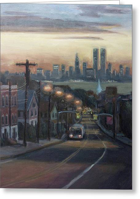 Manhattan Paintings Greeting Cards - Victory Boulevard at Dawn Greeting Card by Sarah Yuster