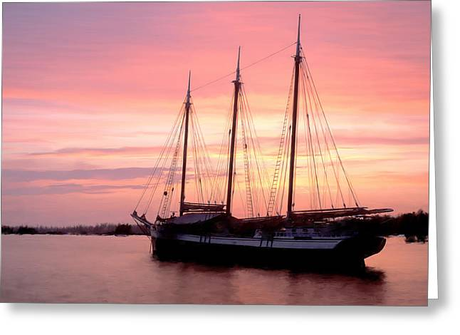 Schooner Greeting Cards - Victory Chimes Sunset Greeting Card by Fred LeBlanc