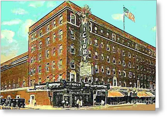 Evansville Paintings Greeting Cards - Victory Theatre And Hotel Sonntag In Evansville In 1920 Greeting Card by Dwight Goss