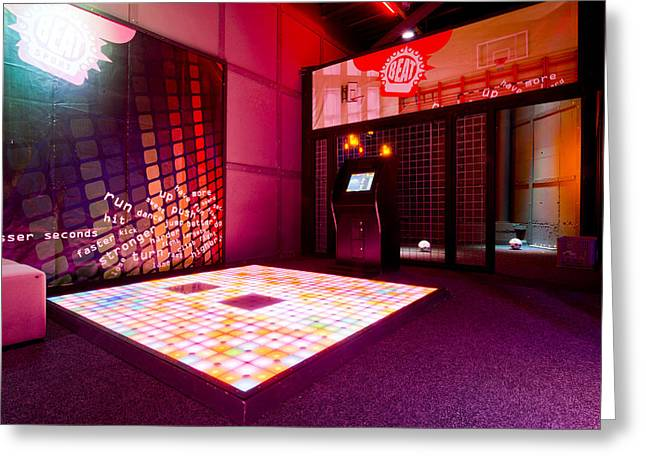Videogame A Musical Floor Game On A Mat Greeting Card by Corepics
