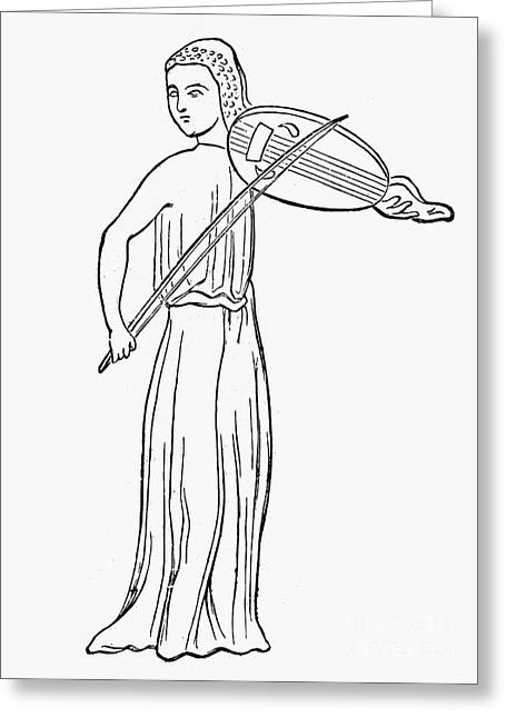 Playing Musical Instruments Greeting Cards - VIELLE PLAYER, 13th CENTURY Greeting Card by Granger