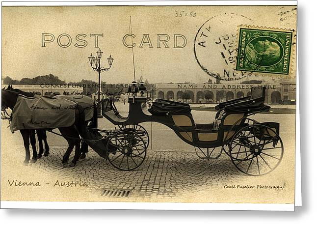 Cards Vintage Greeting Cards - Vienna Carriage Greeting Card by Cecil Fuselier
