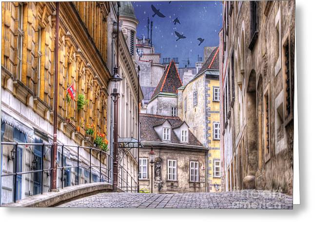 Greek Sculpture Greeting Cards - VIENNA Cobblestone Alleys and Forgotten Streets Greeting Card by Juli Scalzi