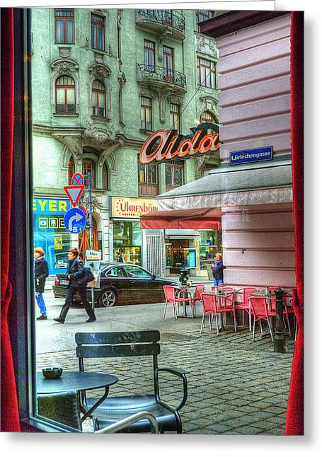 Wein Greeting Cards - VIENNA View from Coffee Shop Window Greeting Card by Juli Scalzi