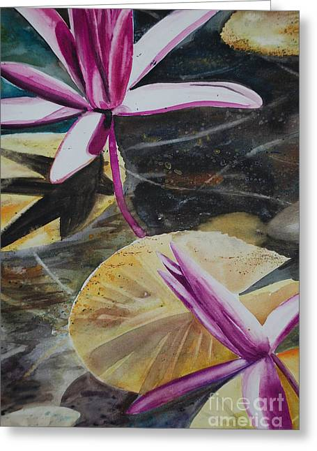 Vietnam Temple Waterlilies Greeting Card by Alla Dickson