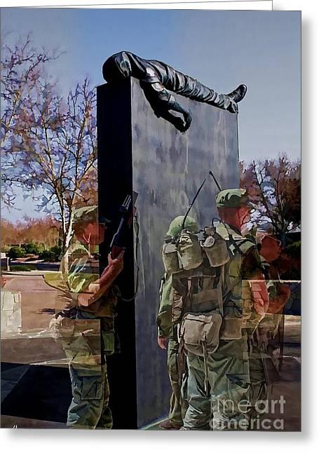 Soldiers National Cemetery Digital Art Greeting Cards - Vietnam Veterans Memories - In Oil Effect Greeting Card by Tommy Anderson