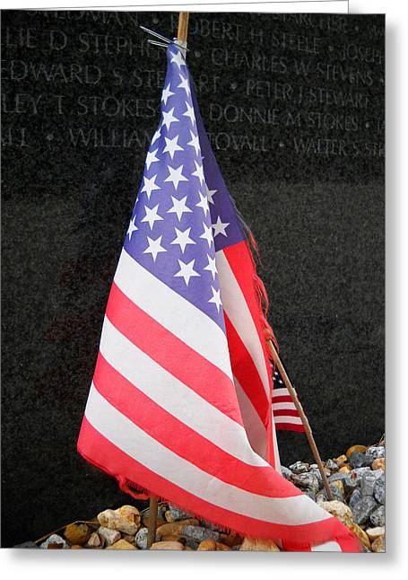 Reverence Greeting Cards - Vietnam War Memorial - The Offering Greeting Card by Duwayne Washington
