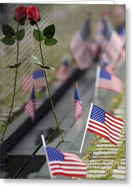 Flower Memorial Photography Greeting Cards - Vietnam War Memorial Greeting Card by Stocktrek Images