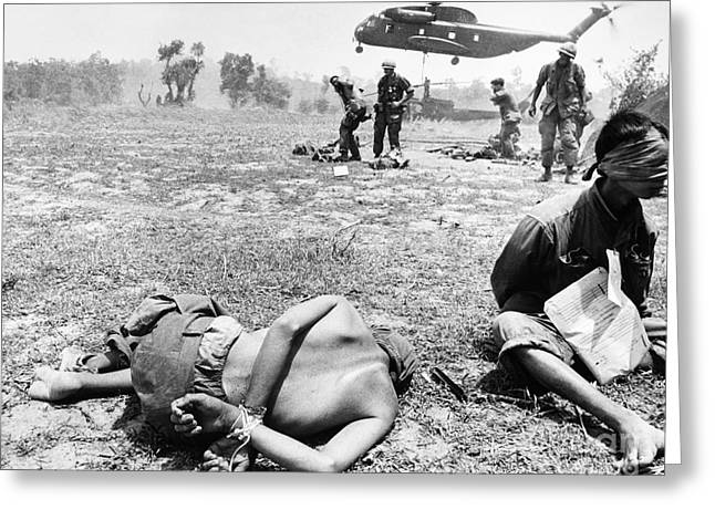 Helicopter Photographs Greeting Cards - Vietnam War: Prisoners Greeting Card by Granger