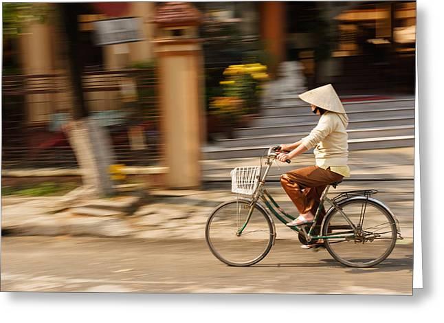 Vietnamese Woman Riding A Bicycle Greeting Card by Panya Jampatong