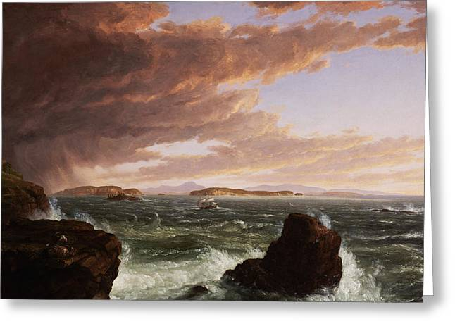 Crashing Wave Greeting Cards - View across Frenchmans Bay from Mt. Desert Island after a squall Greeting Card by Thomas Cole