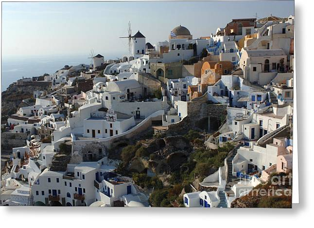 On The Edge Greeting Cards - View At Iao Greece Greeting Card by Bob Christopher