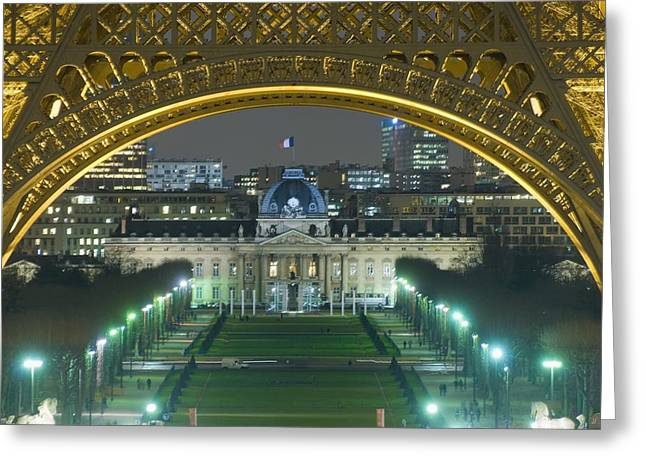 Historical Buildings Greeting Cards - View At Night From The Palais De Greeting Card by Axiom Photographic
