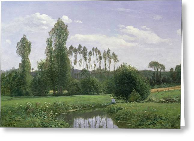 Reflecting Water Greeting Cards - View at Rouelles Greeting Card by Claude Monet