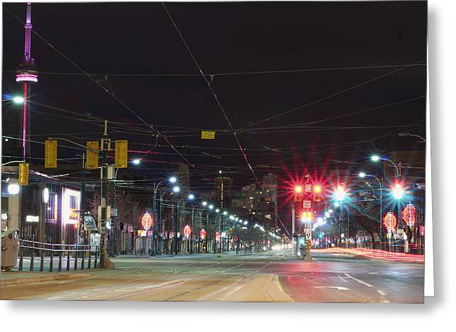 Absence Greeting Cards - View Down Spadina Ave At Night. An Greeting Card by Will Burwell