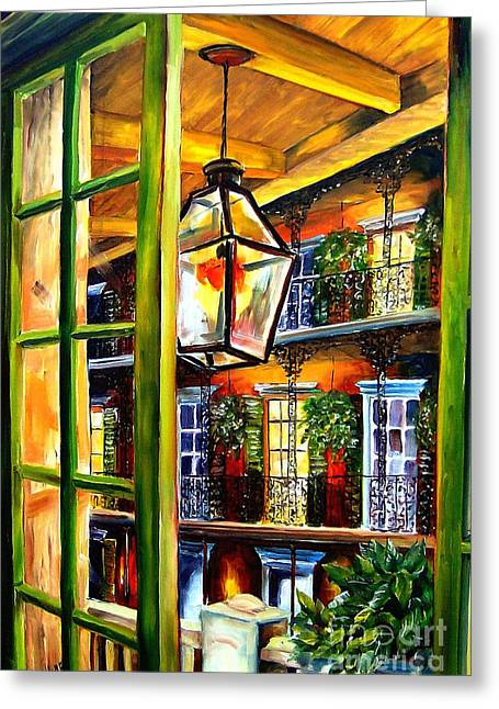 French Quarter Doors Greeting Cards - View from a French Quarter Balcony Greeting Card by Diane Millsap