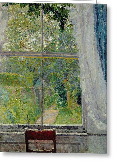 Draped Greeting Cards - View from a Window Greeting Card by Spencer Frederick Gore