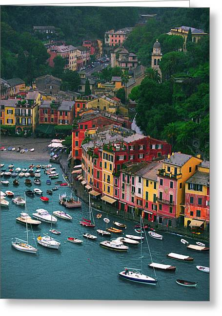 Portofino Italy Greeting Cards - View from Castello Brown Greeting Card by John Galbo