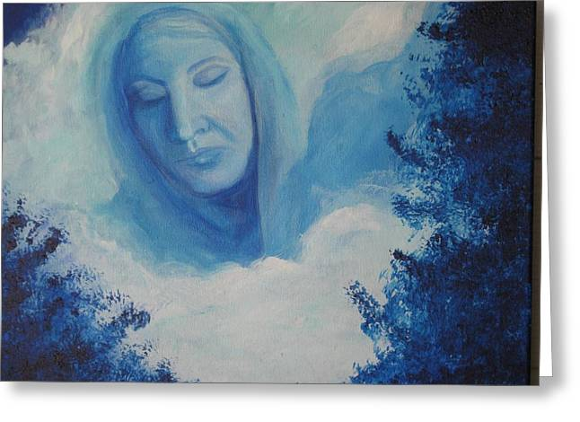 Covered Head Paintings Greeting Cards - View from Heaven Greeting Card by Delores Haberkorn