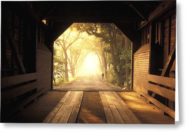 Bridge Road Greeting Cards - View From Inside A Covered Bridge Greeting Card by Richard Nowitz