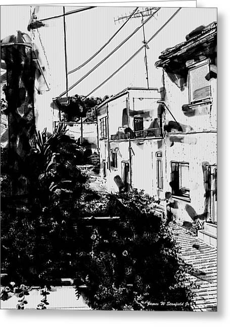 Crete Greeting Cards - View from kitchen window - VII Greeting Card by James Stanfield