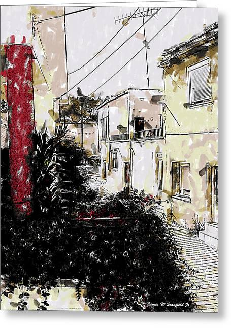Crete Greeting Cards - View from kitchen window - X Greeting Card by James Stanfield