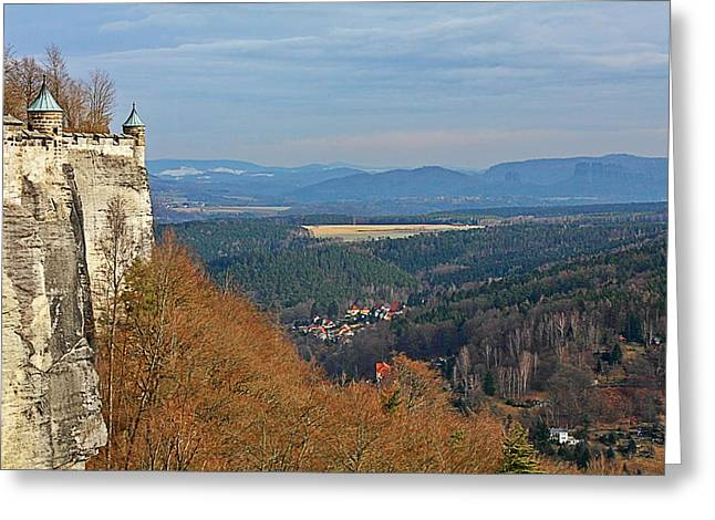 Fortification Greeting Cards - View from Koenigstein Fortress Germany Greeting Card by Christine Till