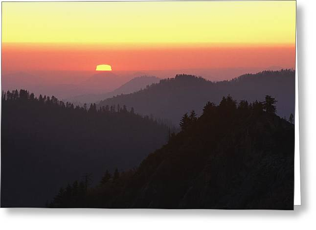 Sequoia National Park Greeting Cards - View From Moro Rock Of Sunset Sky Greeting Card by Marc Moritsch