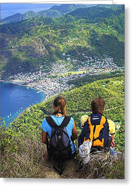 Hill Top Village Greeting Cards - View from Petit Piton- St Lucia  Greeting Card by Chester Williams