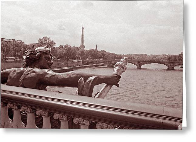 Bridge Framed Prints Greeting Cards - View from Pont Alexandre III 2 Greeting Card by Kathy Yates
