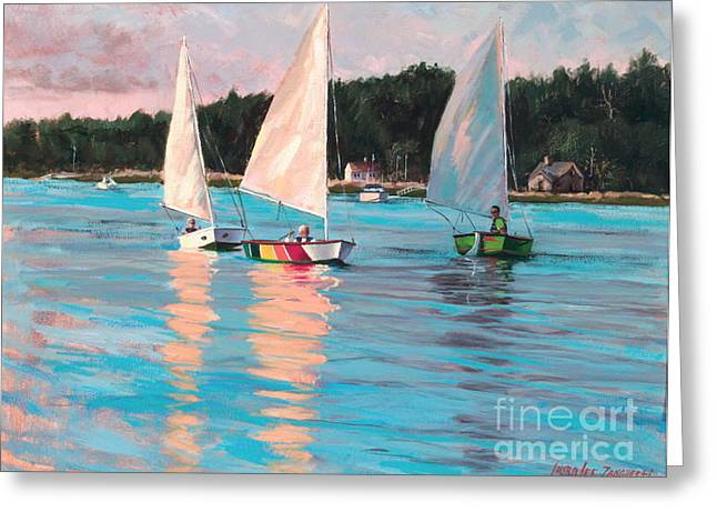 New England Coast Line Greeting Cards - View From Richs Boat Greeting Card by Laura Lee Zanghetti