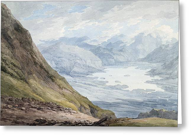 Snow Path Greeting Cards - View from Skiddaw over Derwentwater  Greeting Card by Thomas Hearne