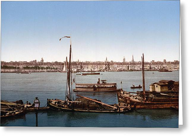 Bastille Photographs Greeting Cards - View from the Bastille - Bordeaux - France ca 1900 Greeting Card by International  Images