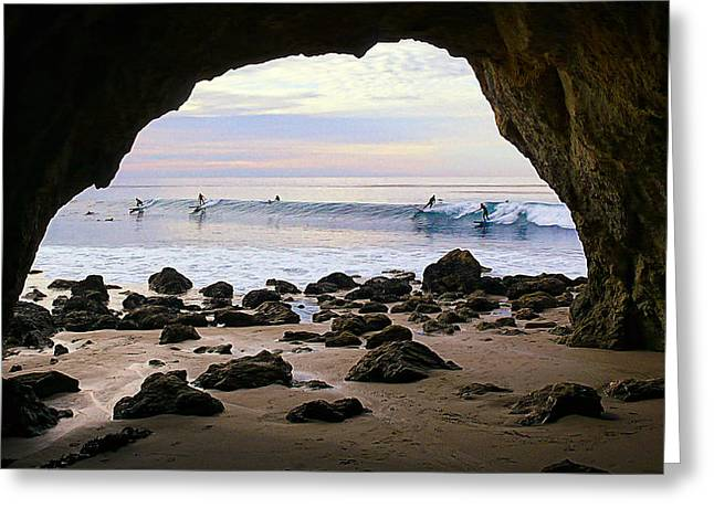 Lineup Greeting Cards - View From the Beach Cave Greeting Card by Ron Regalado