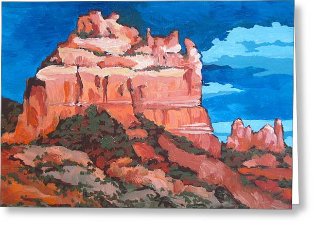 Sinagua Greeting Cards - View from Uptown Greeting Card by Sandy Tracey