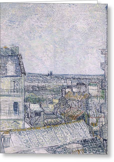 Sprawl Greeting Cards - View from Vincents room in the Rue Lepic Greeting Card by Vincent van Gogh