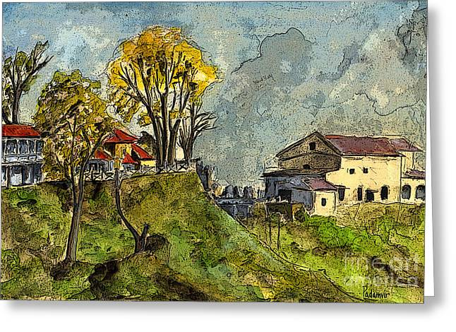 School Houses Mixed Media Greeting Cards - View from Westonel 1a Greeting Card by Padamvir Singh