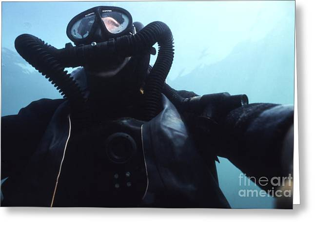 Scuba Diving Greeting Cards - View Looking Up At A Navy Seal Combat Greeting Card by Michael Wood