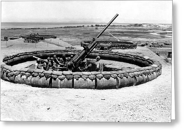Anti Greeting Cards - View Of A 90mm Aaa Gun Emplacement Greeting Card by Stocktrek Images