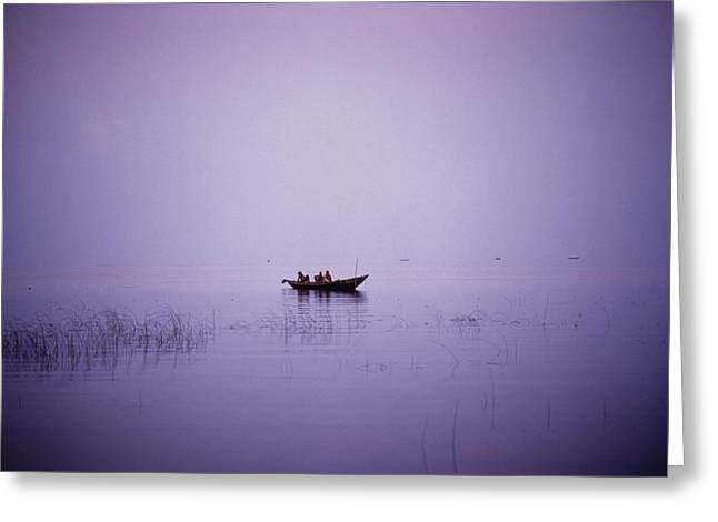 Placid Blue Greeting Cards - View Of A Boat In A Placid Lake Greeting Card by Axiom Photographic