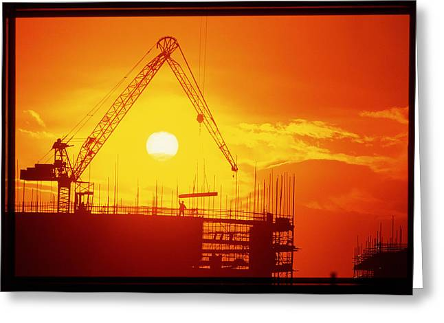 Milton Keynes Greeting Cards - View Of A Construction Site At Sunset Greeting Card by Jeremy Walker