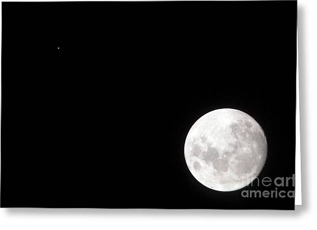Mars Black Greeting Cards - View Of A Full Moon, Also Shows Mars Greeting Card by Stocktrek Images