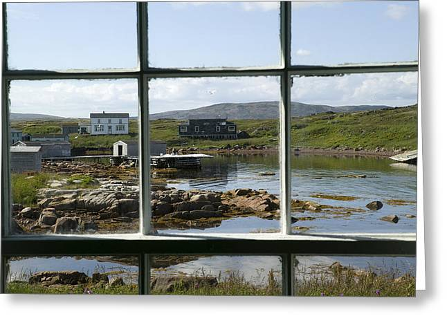 Buildings In The Harbor Greeting Cards - View Of A Harbor Through Window Panes Greeting Card by Pete Ryan