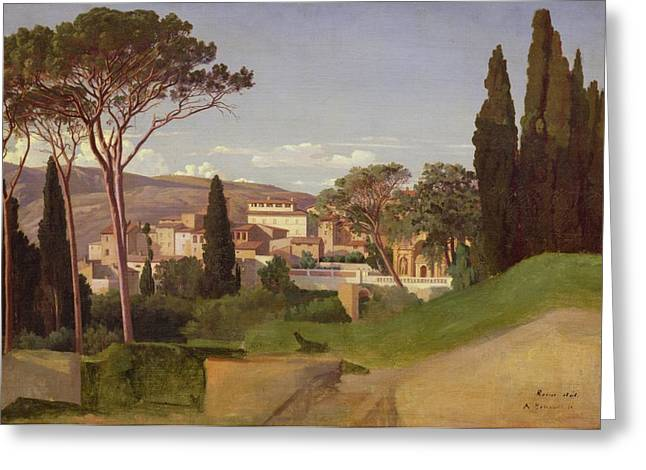 Tuscan Hills Paintings Greeting Cards - View of a Villa Greeting Card by Jean Achille Benouville