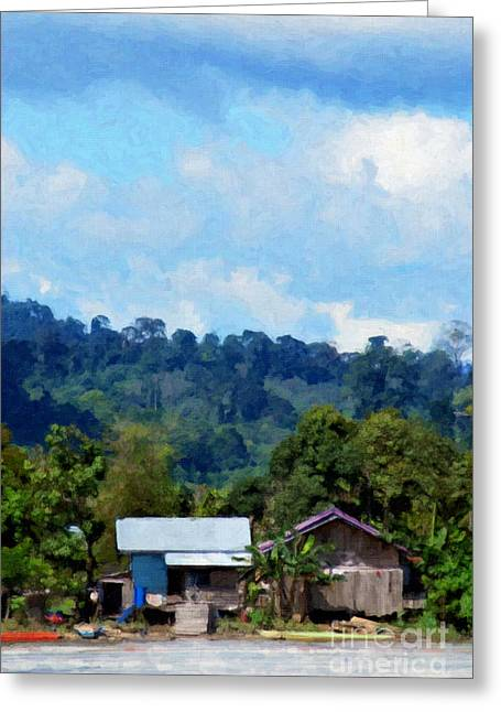Field. Cloud Greeting Cards - View Of A Village On The Banks Of The River Greeting Card by Antoni Halim