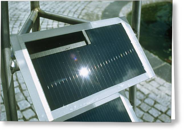 Amorphous Greeting Cards - View Of An Amorphous Solar Cell Greeting Card by Volker Steger