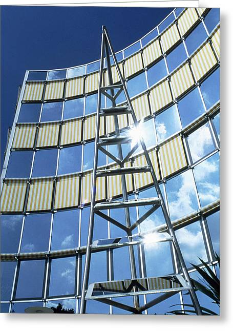 Amorphous Greeting Cards - View Of An Array Of Amorphous Solar Panels Greeting Card by Volker Steger