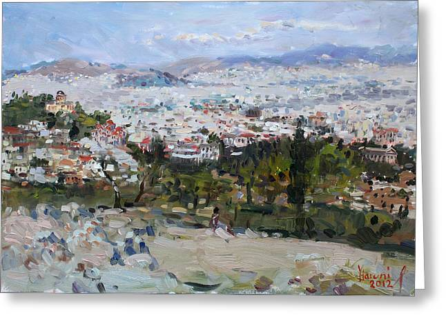 Acropolis Greeting Cards - View of Athens from Acropolis Greeting Card by Ylli Haruni
