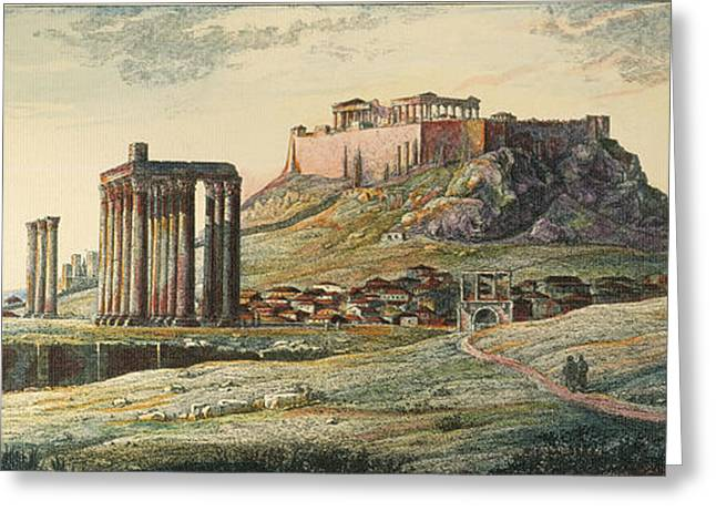 Engraving Greeting Cards - View Of Athens, Greece Greeting Card by Granger
